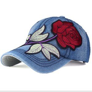 Women's Denim baseball cap Flower NWT